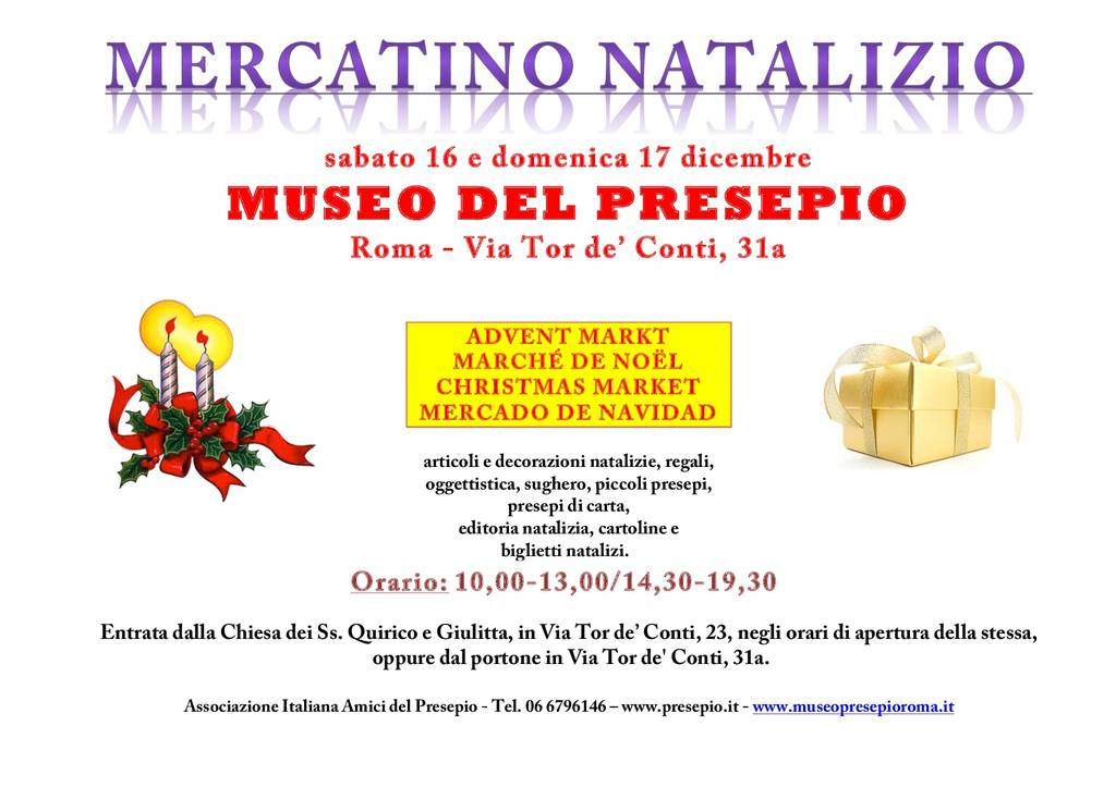 Locandina Mercatino natalizio museo presepio roma