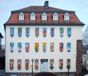 Wallenfels'sches Haus, museo storico di Gießen in Germania addobbato per le feste - aVVENTO