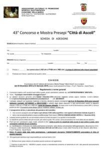 Regolamento Concorso 2018 e scheda adesione - città di Ascoli - Ass.ne San Giacomo della Marca