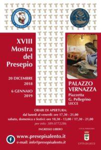 Locandina mostra presepio a Palazzo Vernazza - Lecce 2018