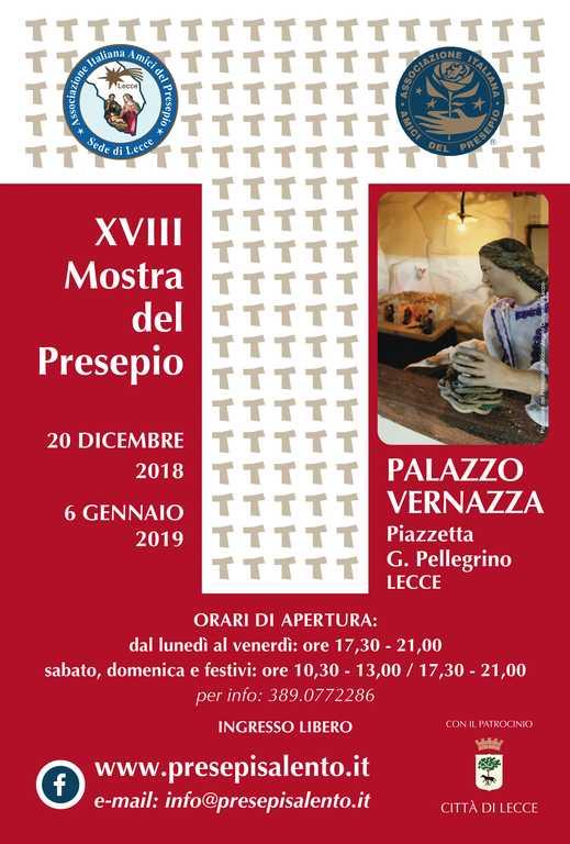 Locandina della XVIII Mostra del Presepio di Lecce a Palazzo Vernazza.