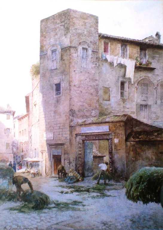 La torre Margana, nella piazza omonima di Ettore Roesler Franz