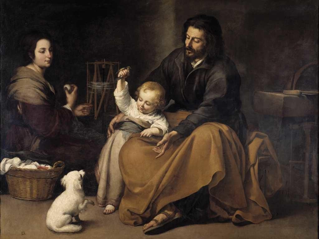 Dipinto: Sacra Famiglia col cagnolino di Bartolomè Esteban Murillo