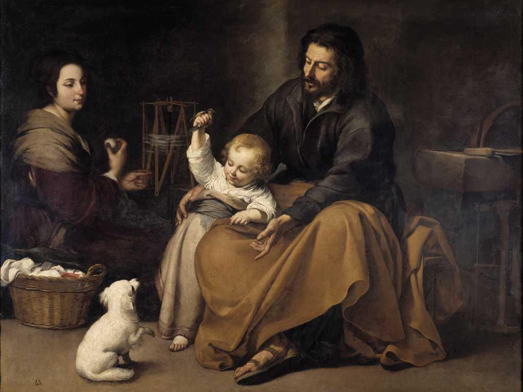 Sacra Famiglia col cagnolino di Bartolomè Esteban Murillo