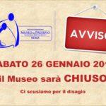 Sabato 26 Gennaio, il Museo del Presepio di Roma resterà chiuso.