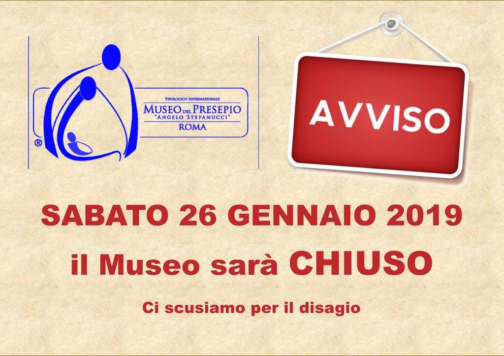 Avviso chiusura museo presepio roma sabato 26-01-2019