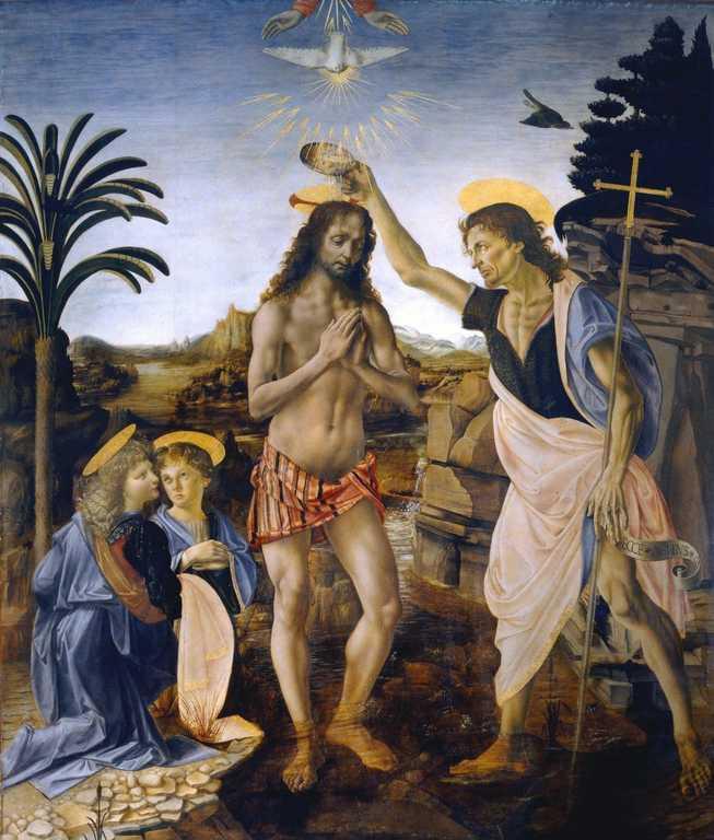 Il Battesimo di Cristo - dipinto di Leonardo Da Vinci