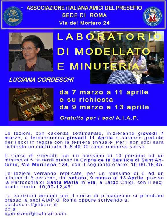 Corso a Roma di Luciana Cordeschi 2019 - modellato e minuterie