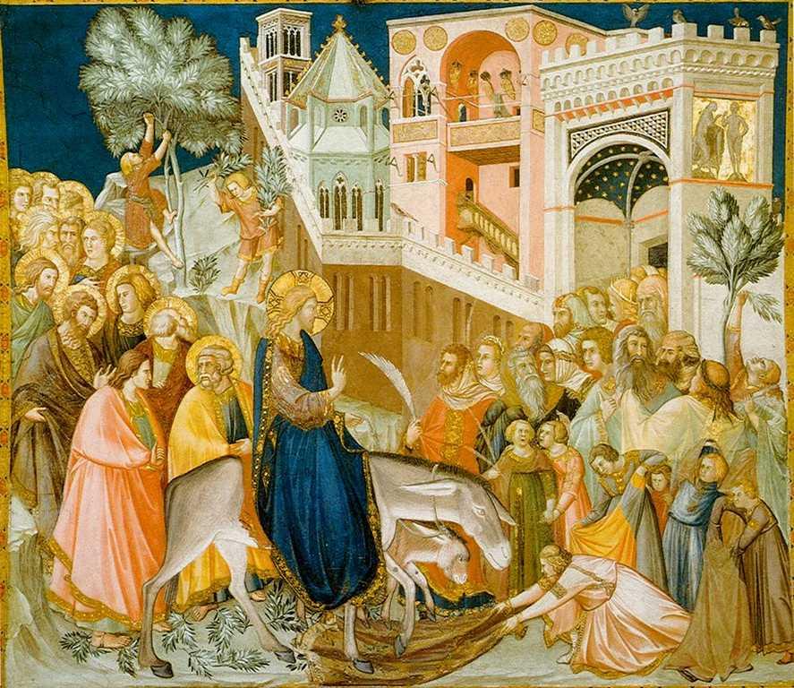 Gesù entra trionfante a Gerusalemme. Affresco di Pietro Lorenzetti (1320)
