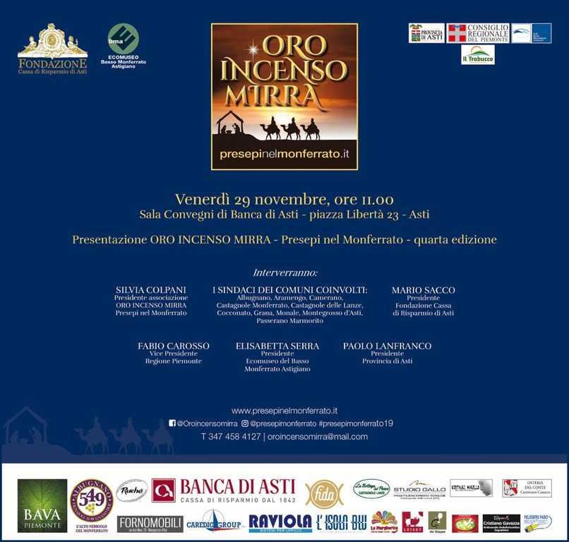 invito 29 novembre - oro incenso mirra - monferrato - asti 2019
