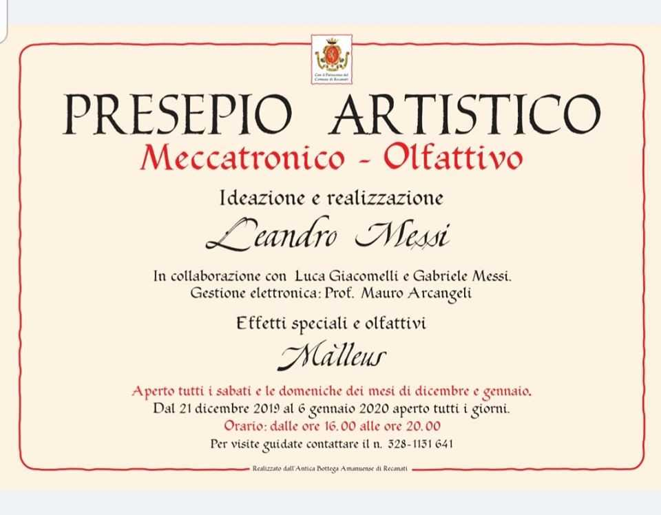 leandro messi 2019 - locandina presepio meccatronico Olfattivo