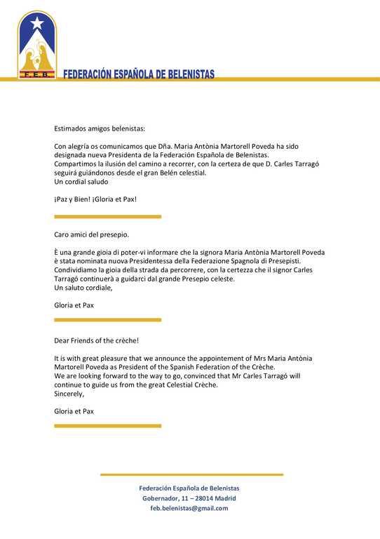 FEB Lettera nuovo presidente Maria Antonia Martorell a Unfoeprae