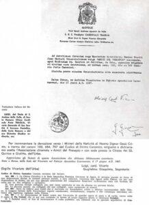 lettera riconoscimento aiap vaticano 1967